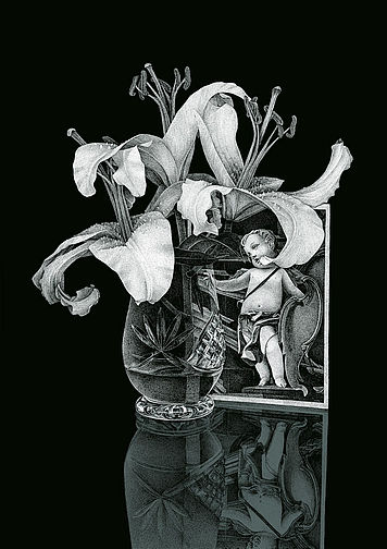 Thilo Westermann, Lilies and card with putto, 2013